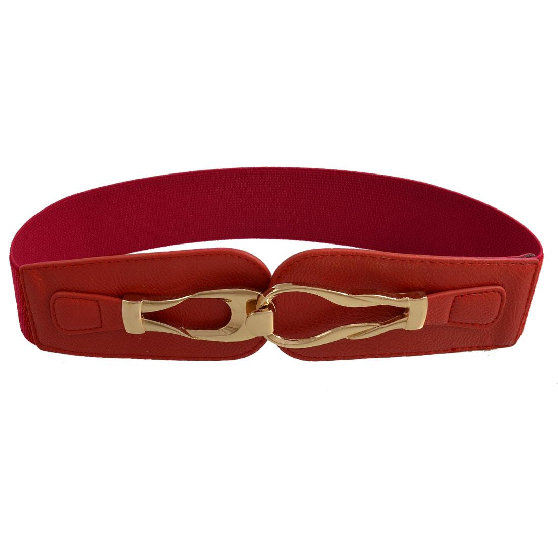 Ladies Metal Hook Buckle Elastic Waist Belt Corset Band Cinch Red
