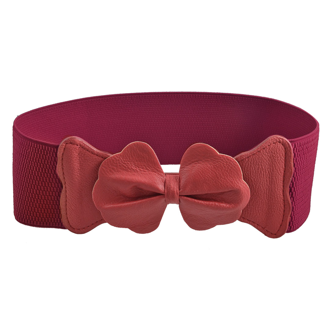 Bowtie Accent Press Stud Button Waist Belt Corset Band Red for Lady