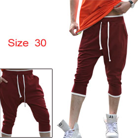 Men NEW Burgundy Pockets Detail Drawstring Stretchable Waist Casual Harem Pants W30