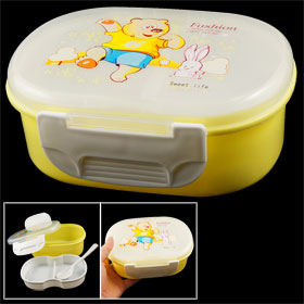 Rabbit Bear Pattern Yellow White Plastic Meal Lunch Food Holder Box