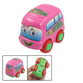 Children Pink Shell Nonslip Wheels Plastic Cartoon Car Minibus Toy
