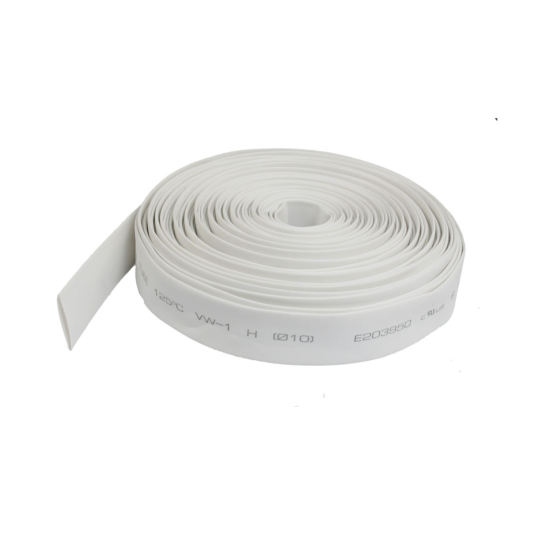 Ratio 2:1 10mm Dia White Polyolefin Heat Shrinkable Tube 10M 32.8ft