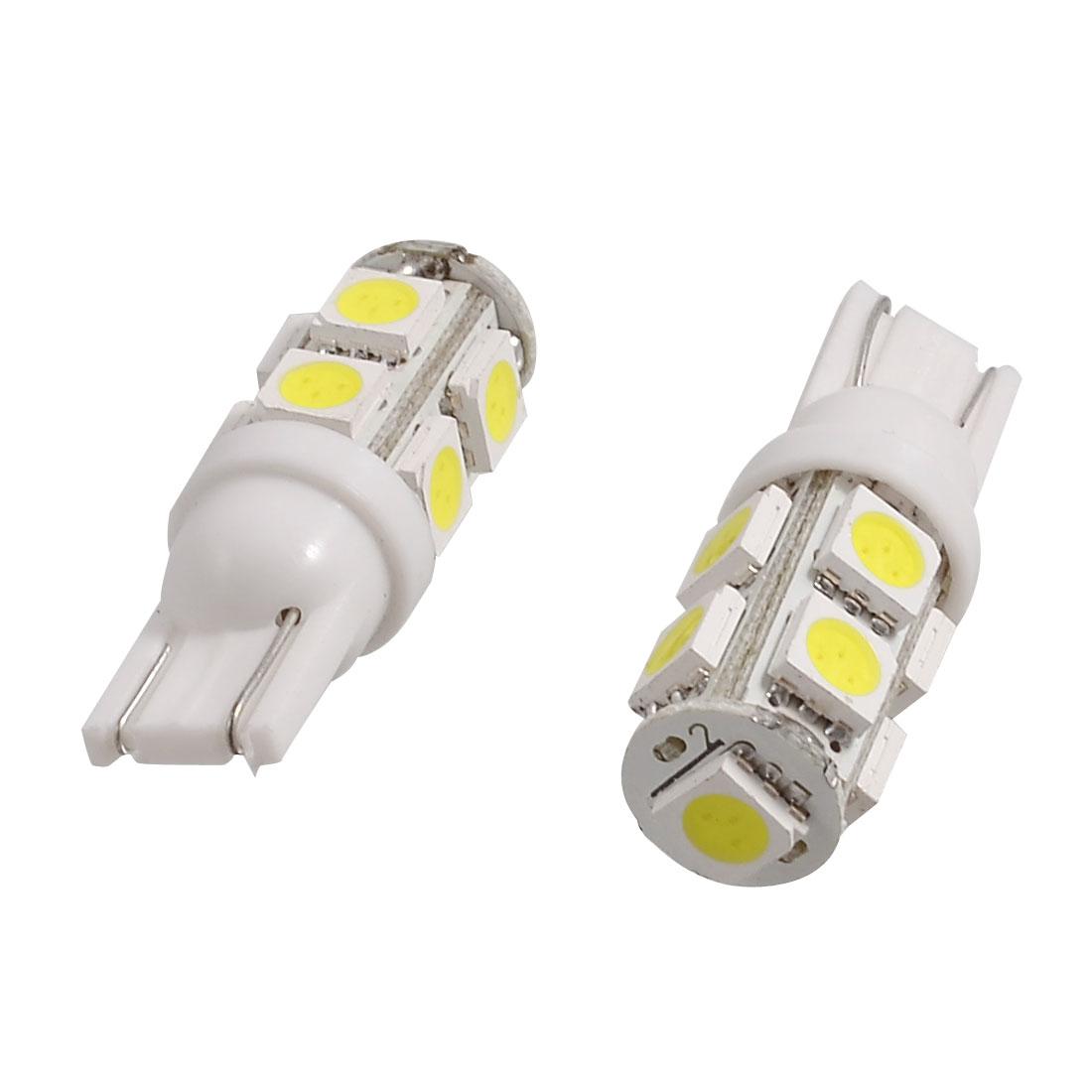 2 Pcs Car T10 W5W 9 5050 SMD LED White Lamp Side Wedge Light Bulbs