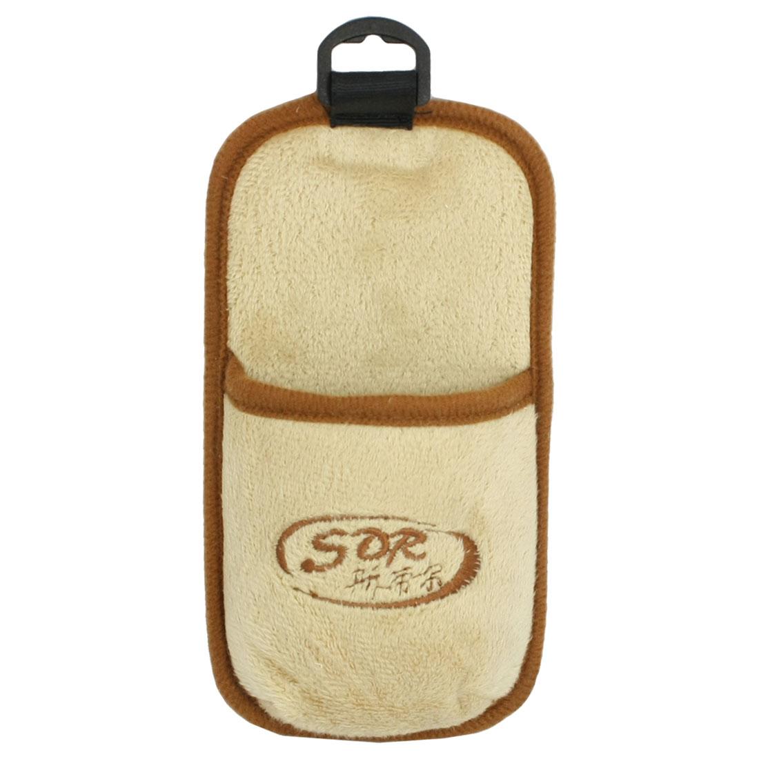 Car Auto Brown Khaki Plush Phone Pocket Holder Storage Bag