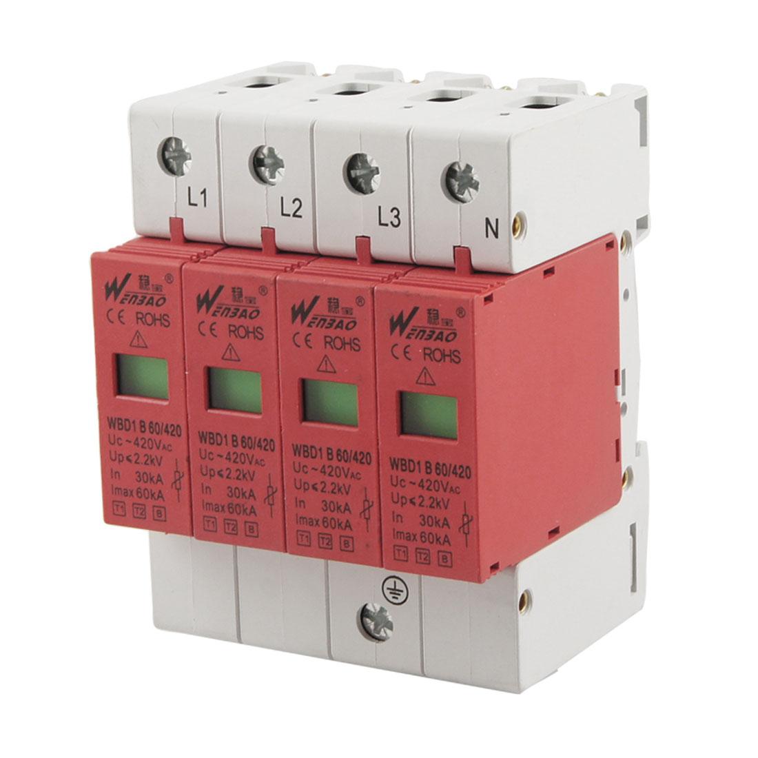 AC 420V 60KA Max Current 30KA In 3P+N Din Rail Mount Surge Protection Device Arrester