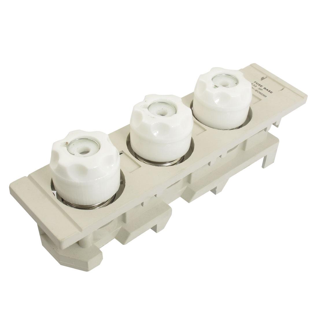 AC 500V 63A Ceramic Fuse Link E33 3P 690V Screw Base w Gray Plastic Holder