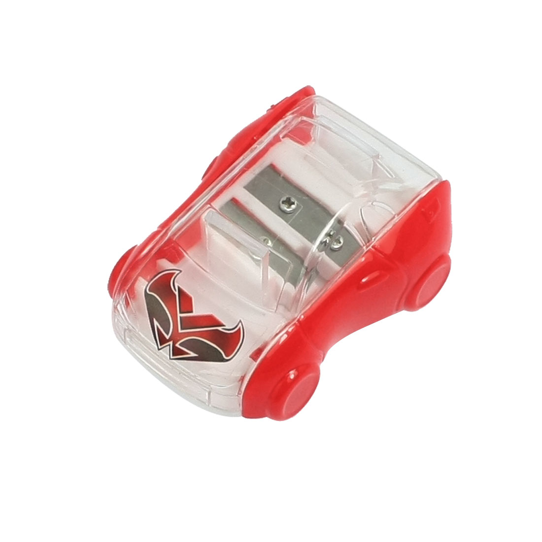 Car Shaped Double Hole Red Plastic Pencil Sharpener for Students
