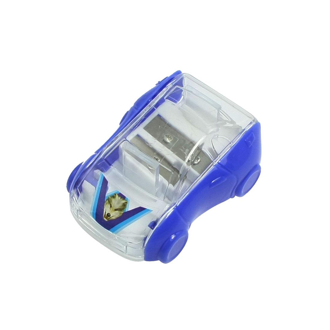 Blue Transparent Plastic Shell Double Holes Pencil Sharpener