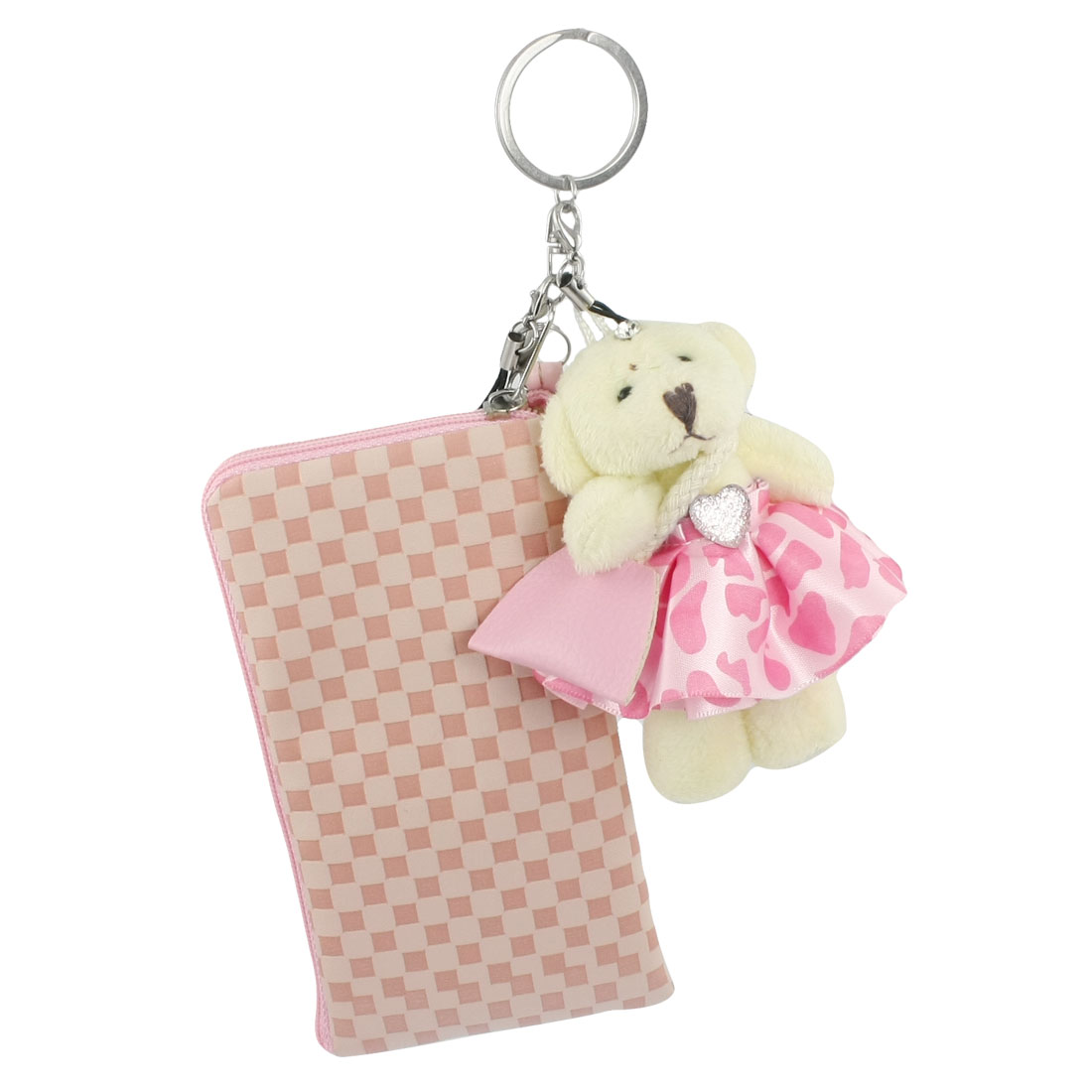 Bear Pandant Chequer Pattern Faux Leather Phone Pouch w Ear Cap