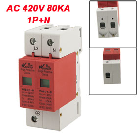AC 420V 80KA Imax 40KA In 1P+N Din Rail Mount Surge Protection Device Arrester