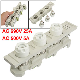 AC 500V 5A Ceramic Fuse Link E27 3P 690V 25A Screw Base w Gray Plastic Holder