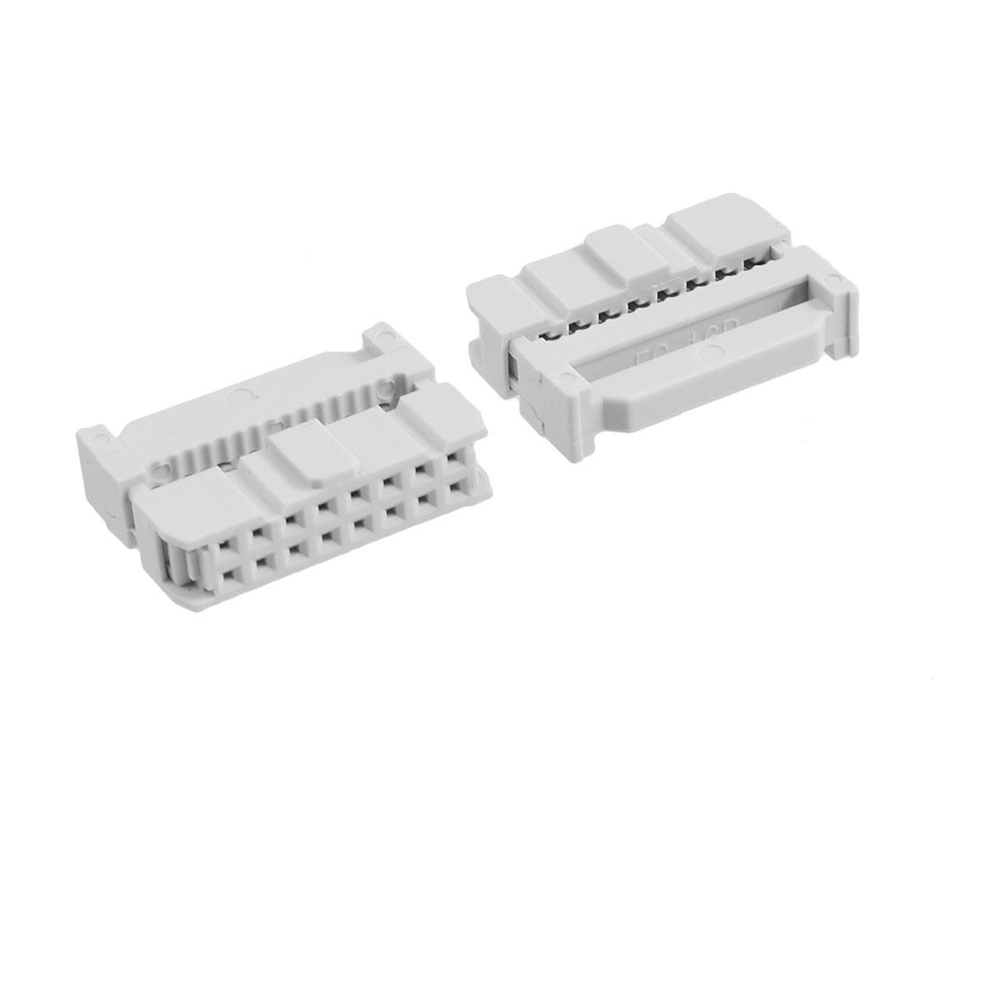 "10 Pcs 0.1"" 2.54mm 16 Pin 14P Female IDC Socket Plug Flat Cable Connector"