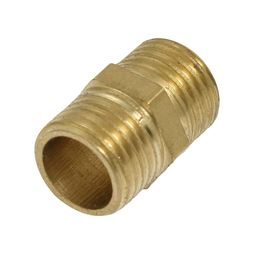 "Air Pneumatic Piping 31/64"" Male to Male Hex Nipple Equal Connector Brass Tone"