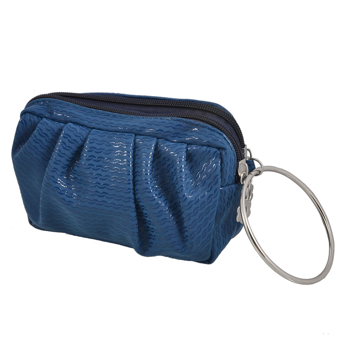 Blue Wave Pattern Double Zip Compartments Metal Ring Purse Pouch Carry Bag