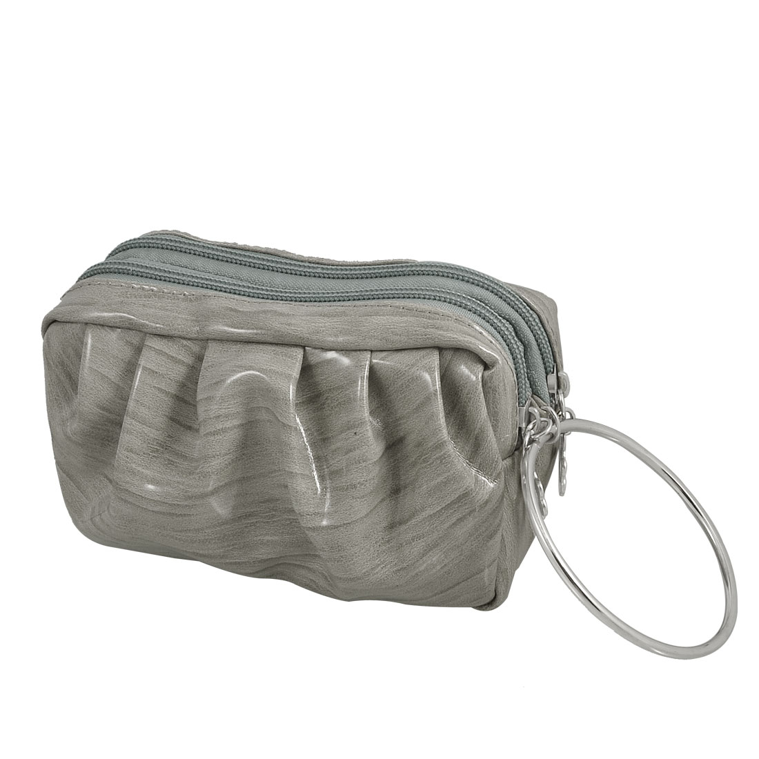 Light Gray Stripe Pattern Metal Ring Faux Leather Double Deck Handbag Pouch