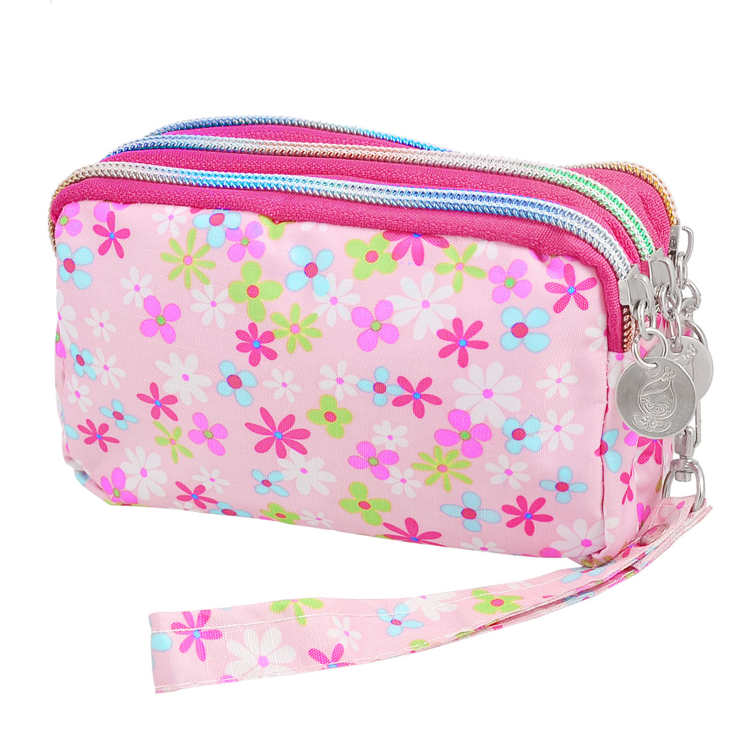 Multicolor Flower Pattern Pink Nylon Zippered Hand Bag Cash Purse Pouch