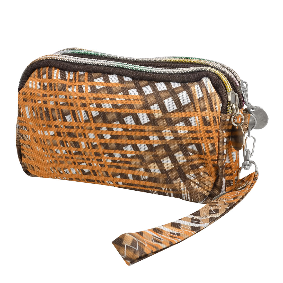 Ladies Brown Orange Interlaced Stripe Pattern Triple Zippers Handbag Pouch
