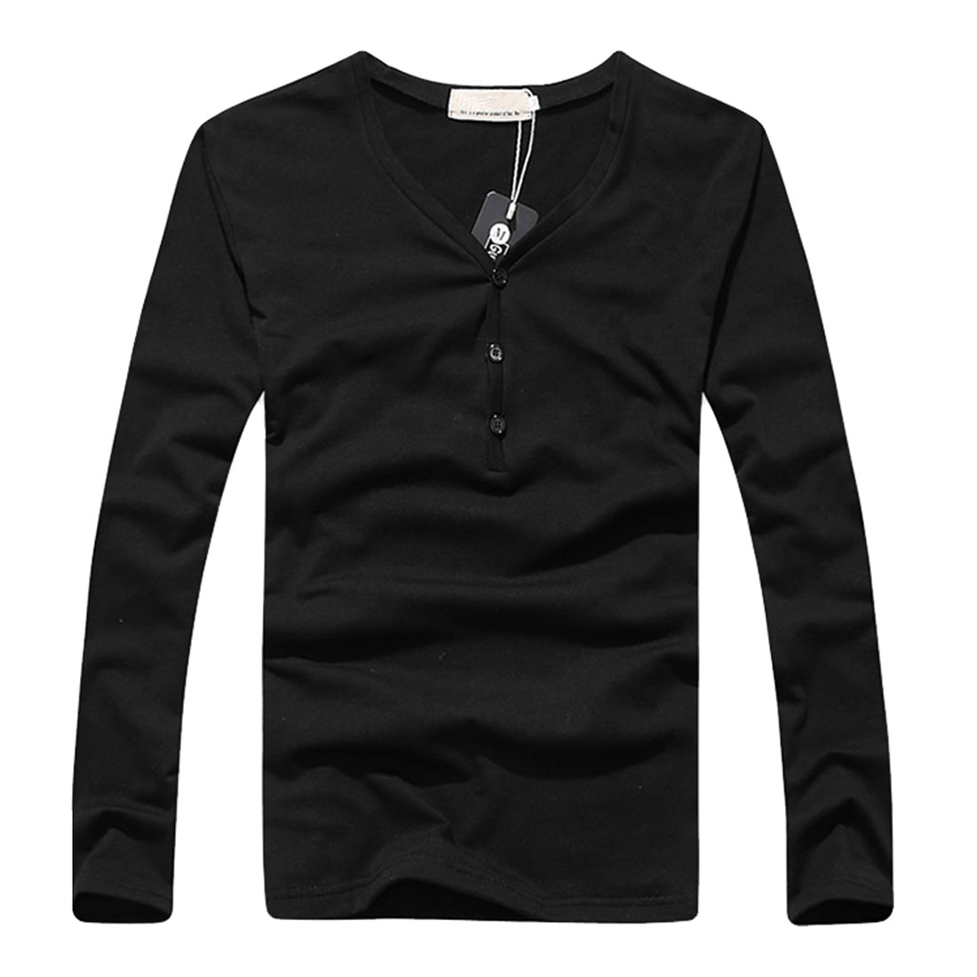 Men Fashion Black Long Sleeve Three Button Upper Leisure Tee Shirt XS
