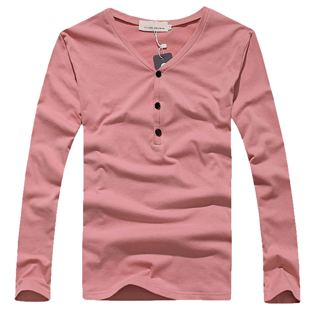 Men Pink Stylish Long Sleeve Three Buttons Stretchy Pure Color Tee Shirt XS