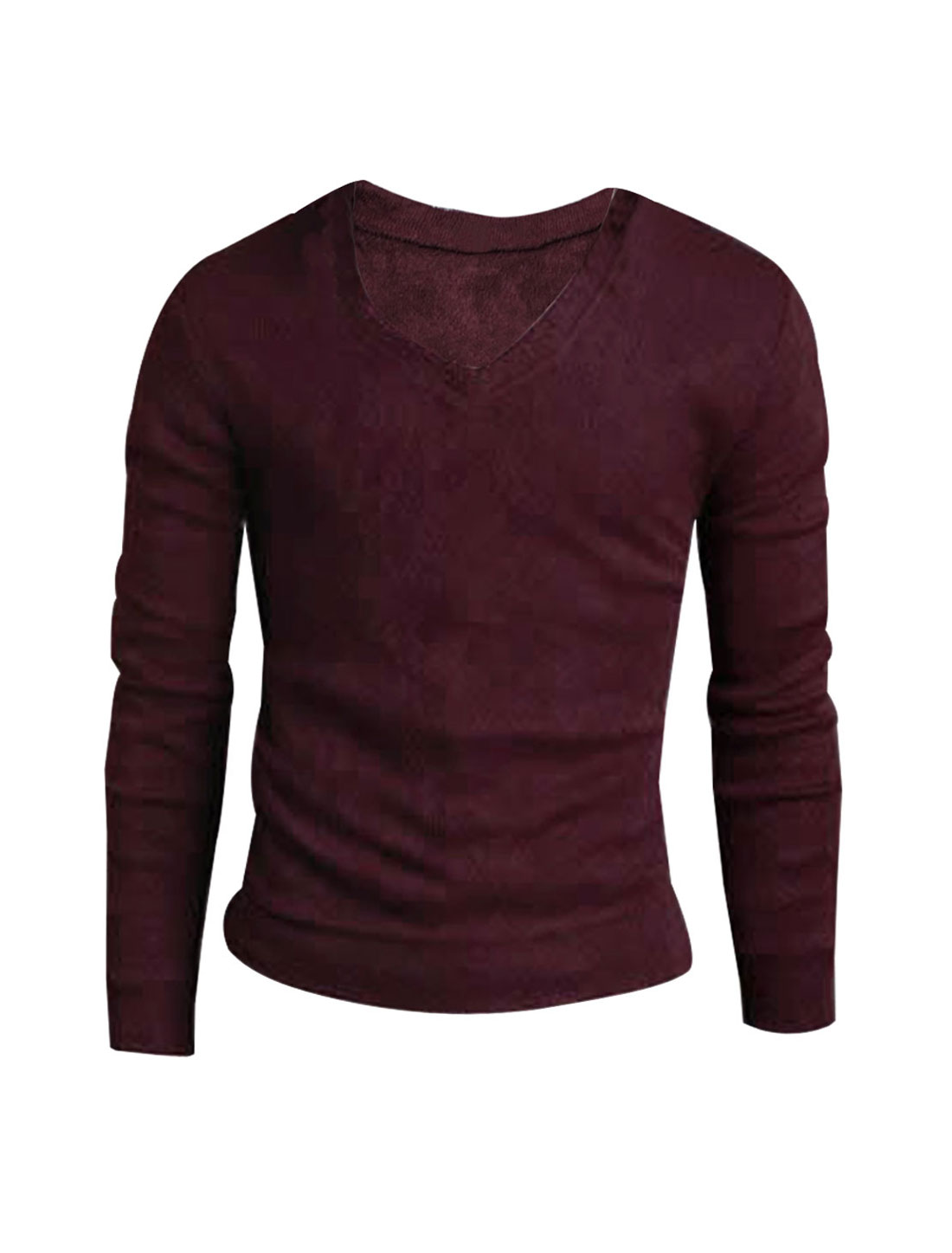 Mens Burgundy NEW Pullover Solid Color V-neck Slim Fall Sweater S