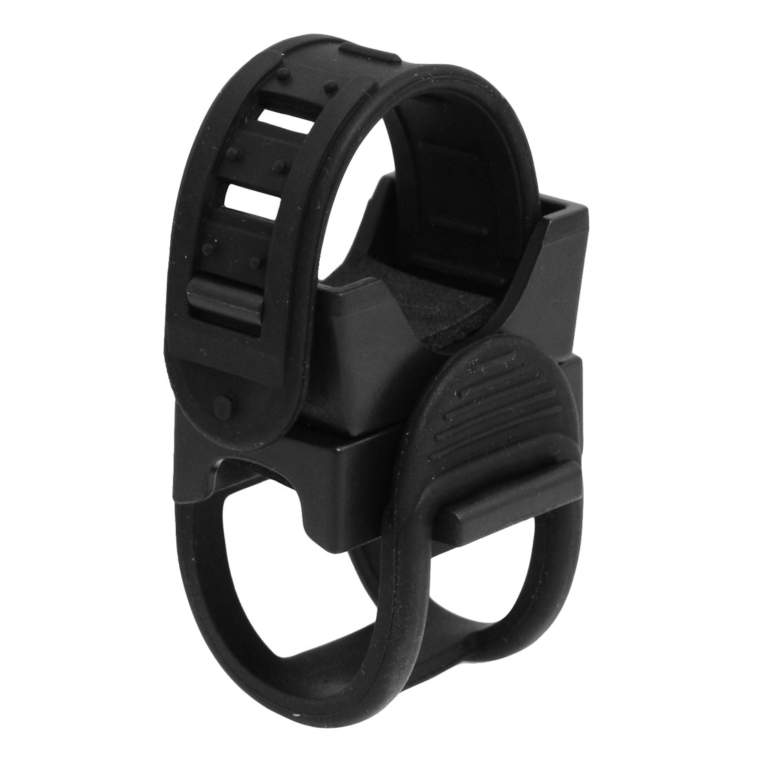 Black Plastic Rubber Adjustable Flashlight Holder for Bicycle Bike
