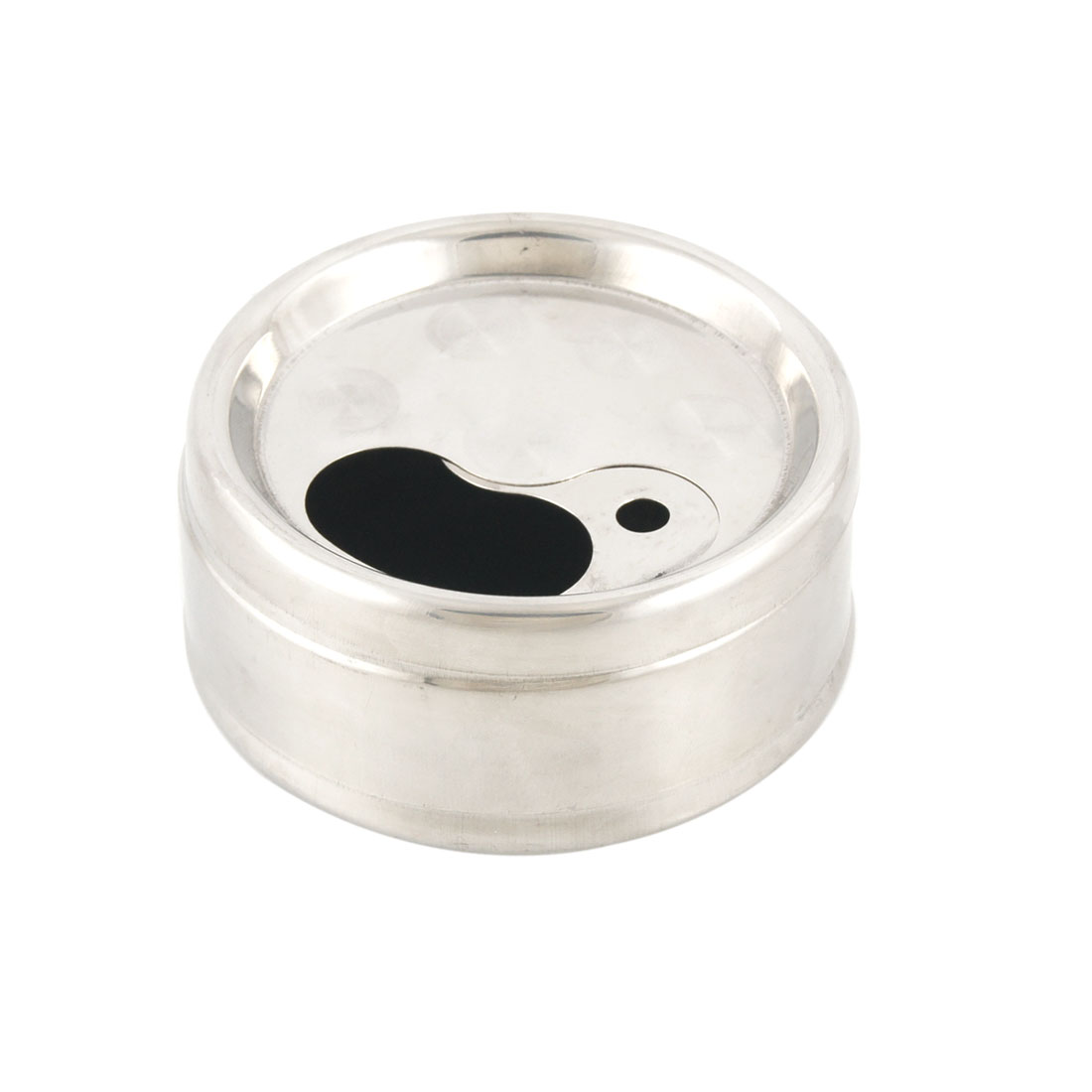 Silver Tone Stainless Steel Rotating Lid Cigarette Smoking Ashtray