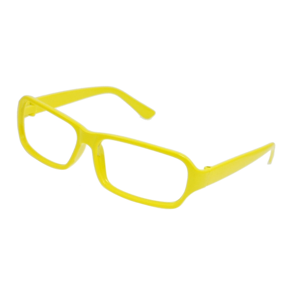 Yellow Plastic Rectangle Full Rim Glasses Eyeglasses Frame for Women
