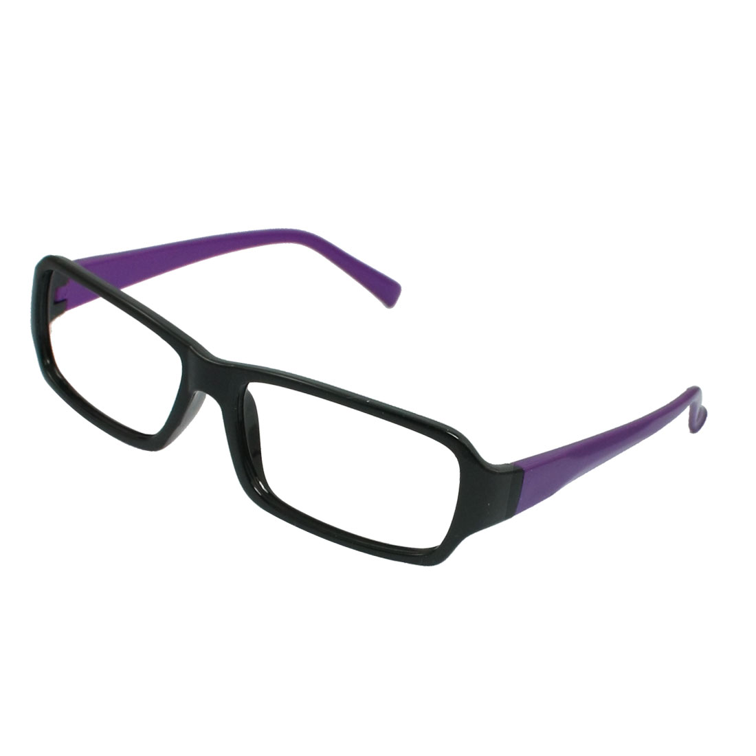 Black Purple Plastic Rectangle Full Rim Glasses Eyeglasses Frame for Women