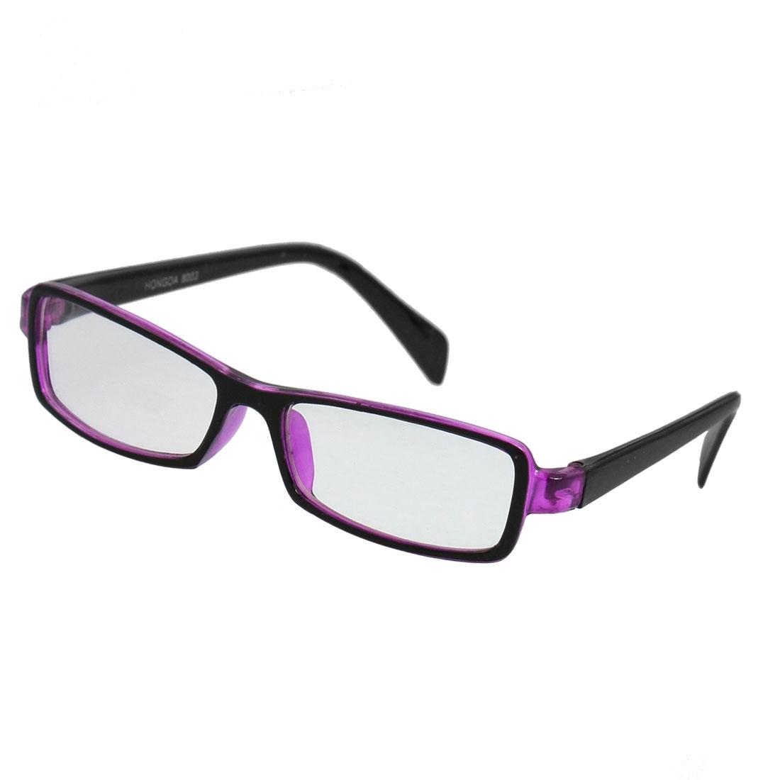 Plastic Frame Rectangular Lens Full Rim Spectacle Eyeglass Black Purple