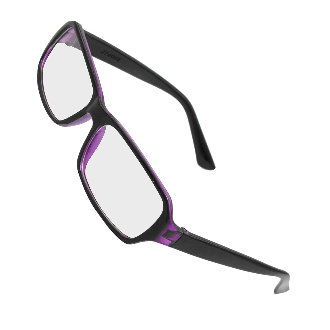 Black Purple Plastic Frame Rectangle Clear Lens Plain Glasses for Women
