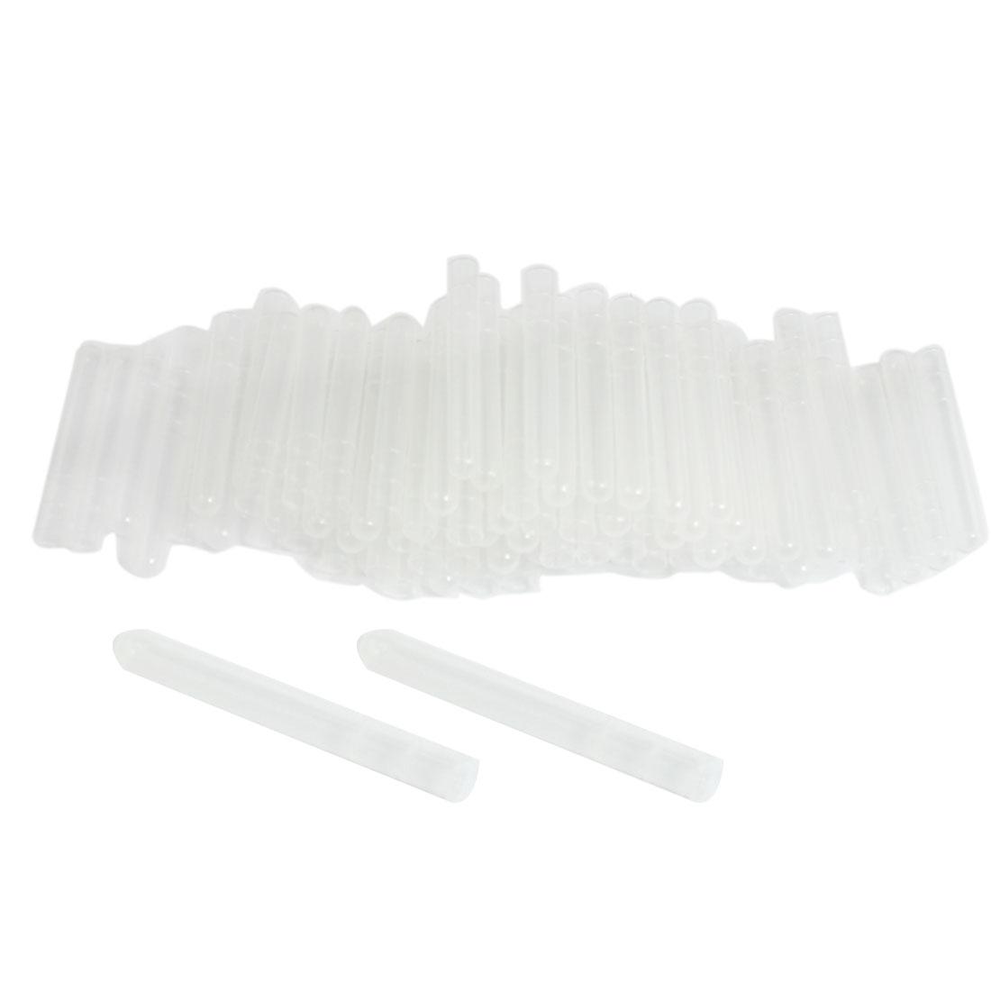 "100 Pcs Clear White Plastic Rounded U-shaped Bottom 3"" Long Test Tube 4ml"