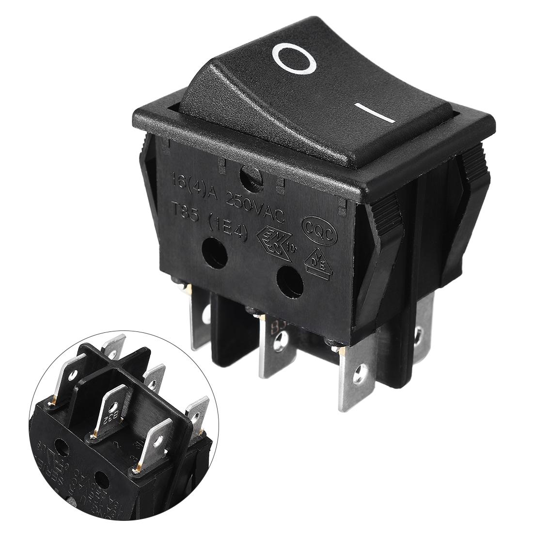 DPDT 2Position I/O 6 Pin 16A/250V AC Rocker Boat Switch Black
