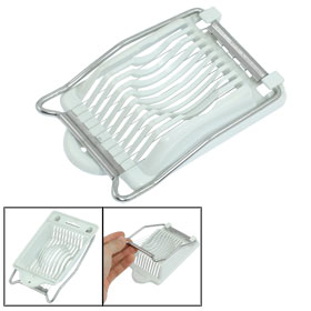 Kitchen Plastic Base 10 Metal Line Egg Slicer Cutter White Silver Tone