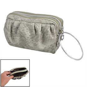 Light Gray Snake Pattern Dual Compartments Zip Faux Leather Pouch Carry Moneybag