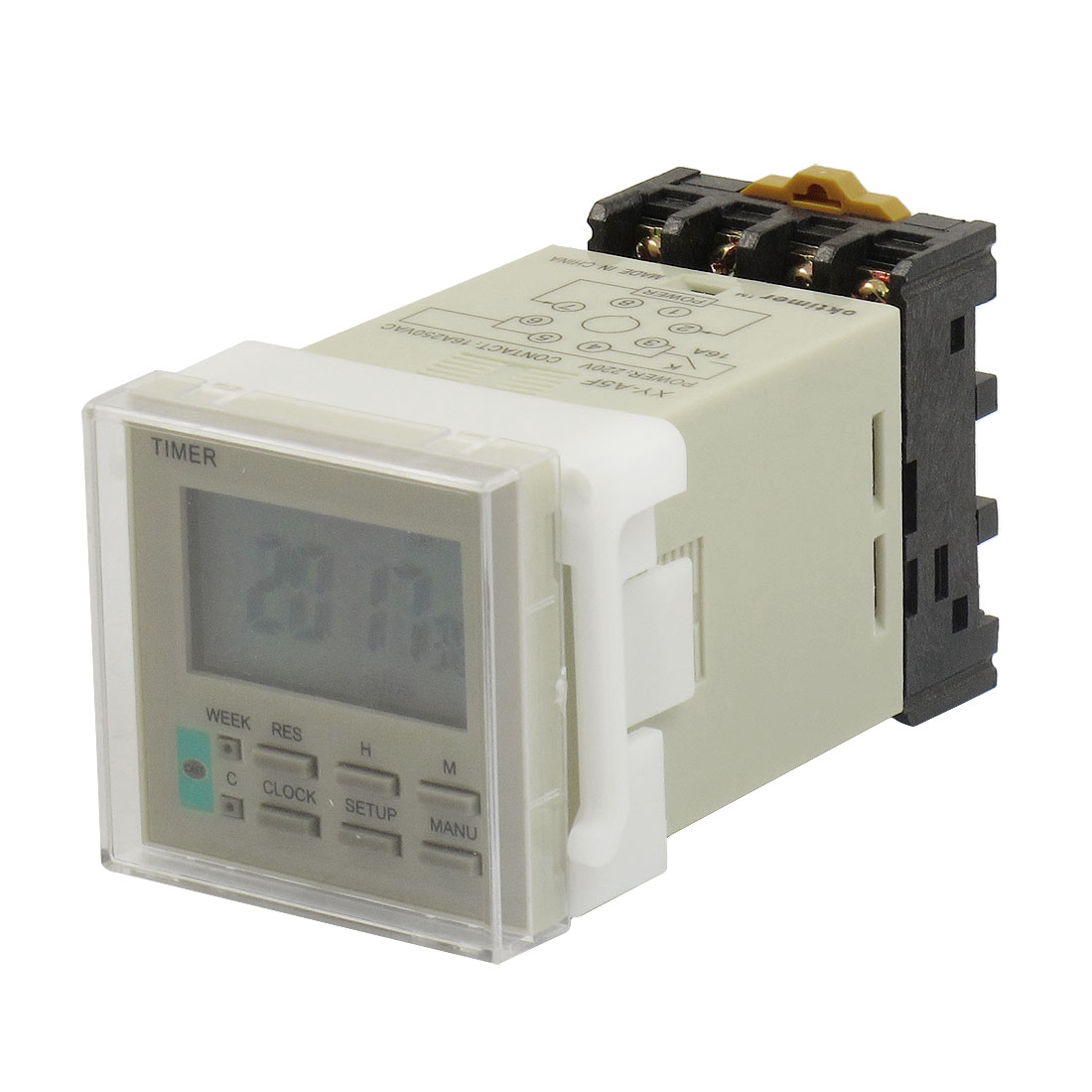 10A 250VAC Contact Electronic Timer Switch w Socket Base AC 220V XY-A5F
