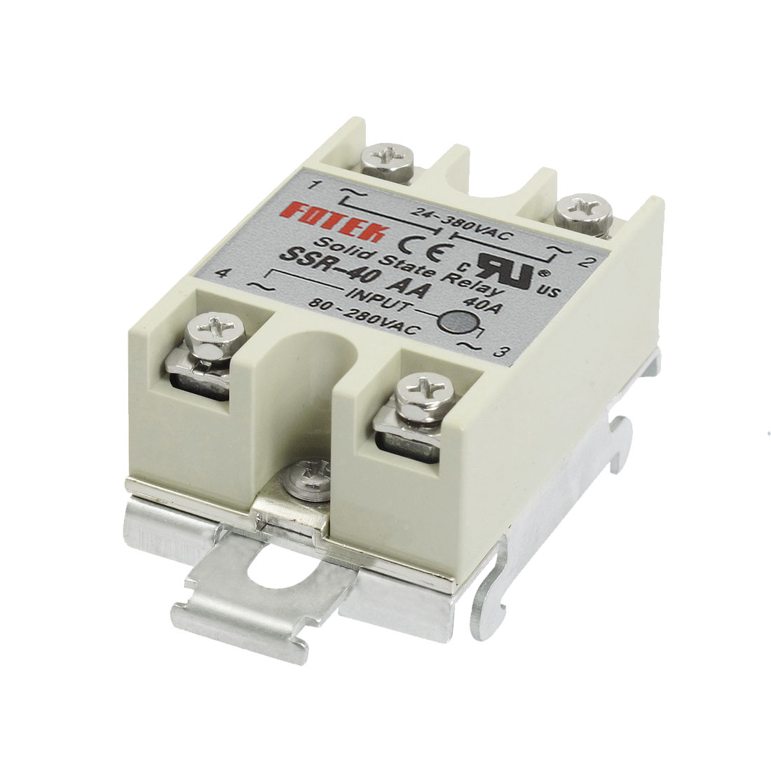 AC-AC 40A 80-280VAC 24-380VAC SSR-40AA Gray Solid State Relay DIN Rail Mount