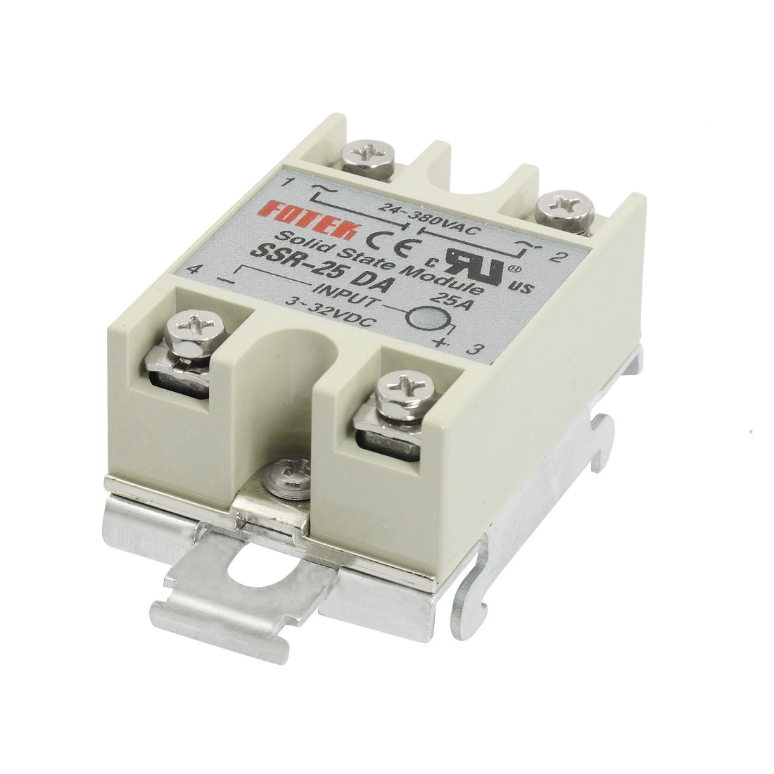 DC to AC SSR Type 25A 3-32V DC 24-380V AC Gray Solid State Relay w DIN Rail Base