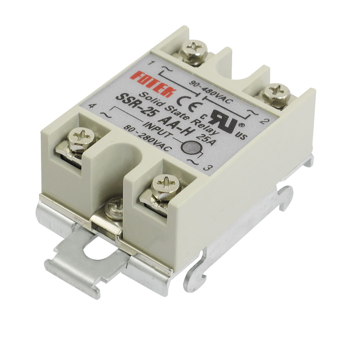 AC 80-280V Input Temperature Control Solid State Relay w DIN Rail 25A SSR-25AA-H