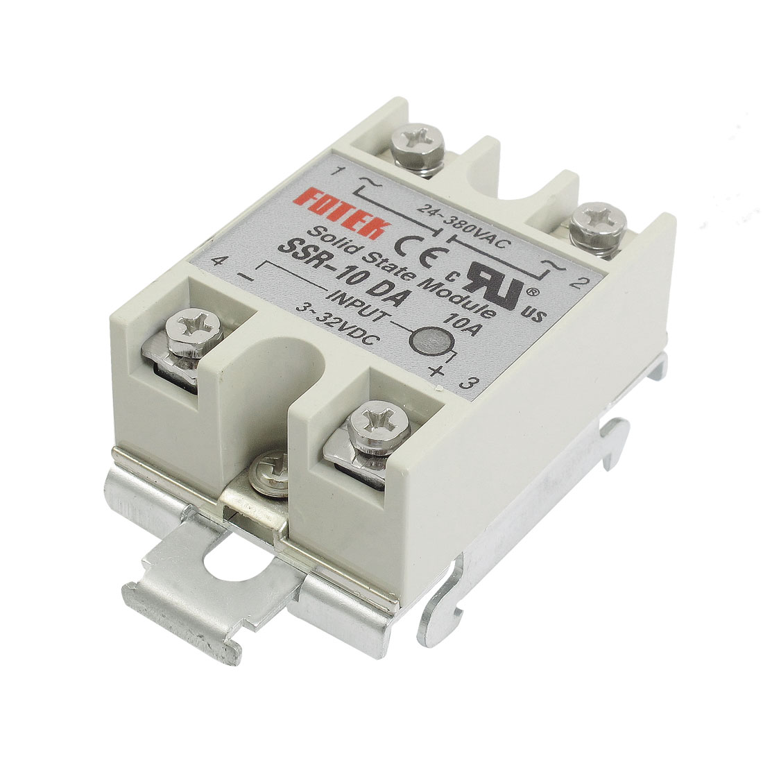 DC-AC 10A 3-32VDC 24-380VAC SSR-10DA Gray Solid State Relay w DIN Rail Base