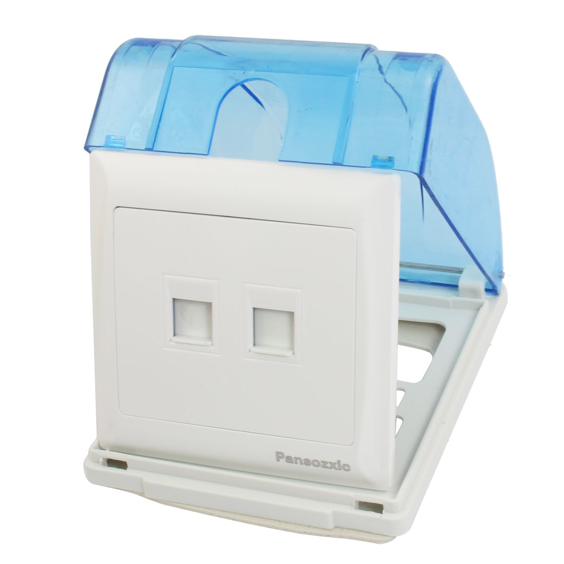 White Panel RJ45 Computer RJ11 Telephone Wall Outlet Plate w Blue Splash Proof Box