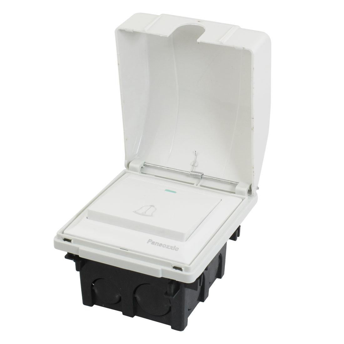 White Splash Proof Box Flush Mount Base Wall Panel Doorbell Switch AC 250V 10A