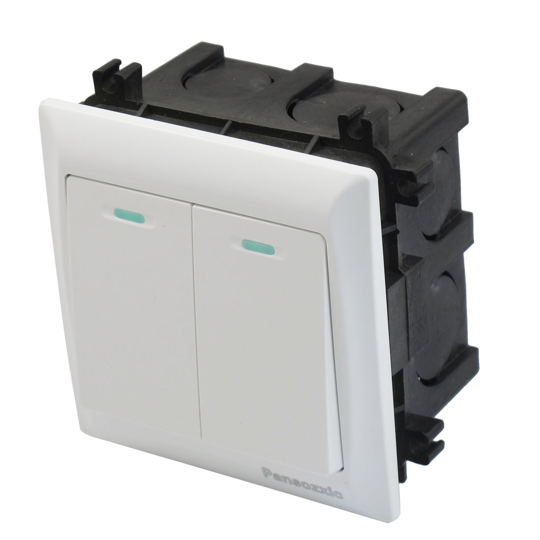 White AC 250V 10A 2 Gang Circuit Wall Panel Switch w Flush Mount Box