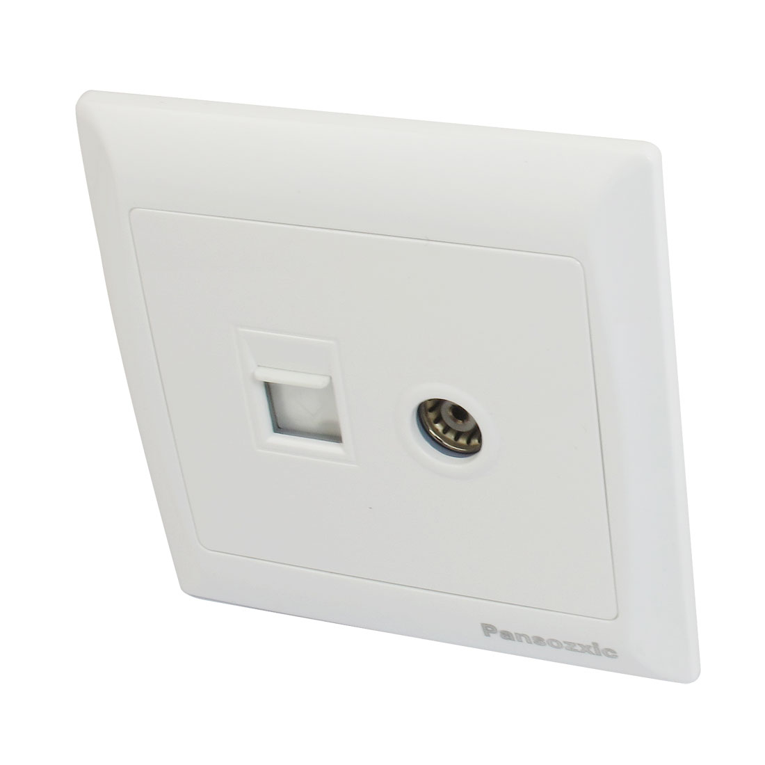 White Rectangle Panel RJ45 Computer RJ11 Telephone Network Wall Outlet Plate