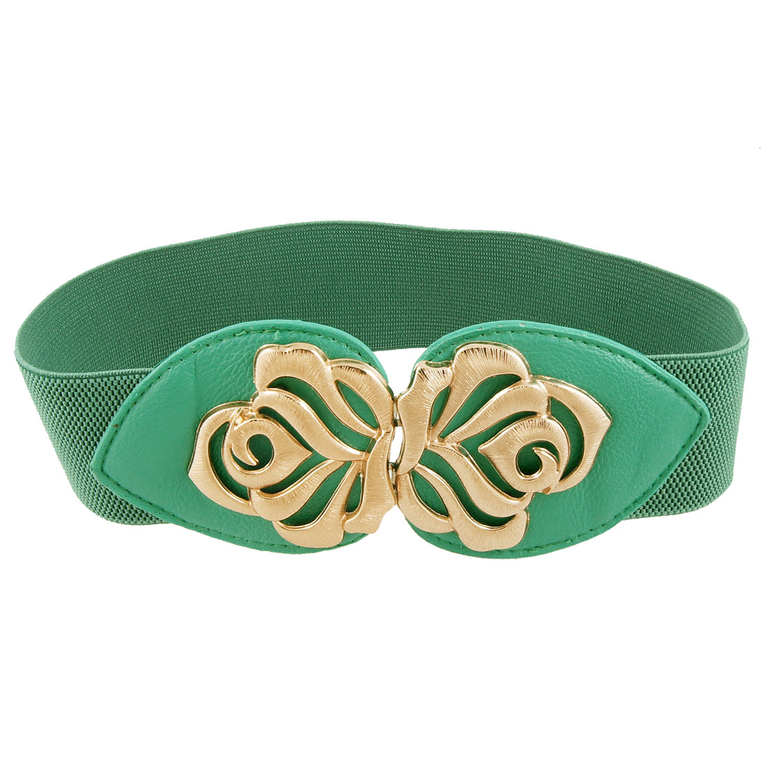 Ladies Gold Tone Flower Decor Interlocking Buckle Green Stretchy Cinch Belt