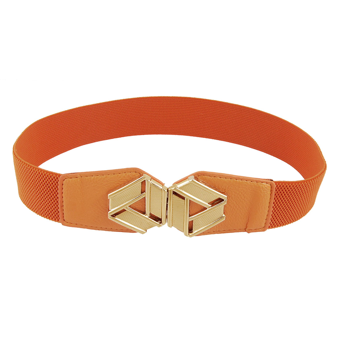 Gold Tone Metal Interlocking Buckle Orange Stretchy Cinch Belt for Woman