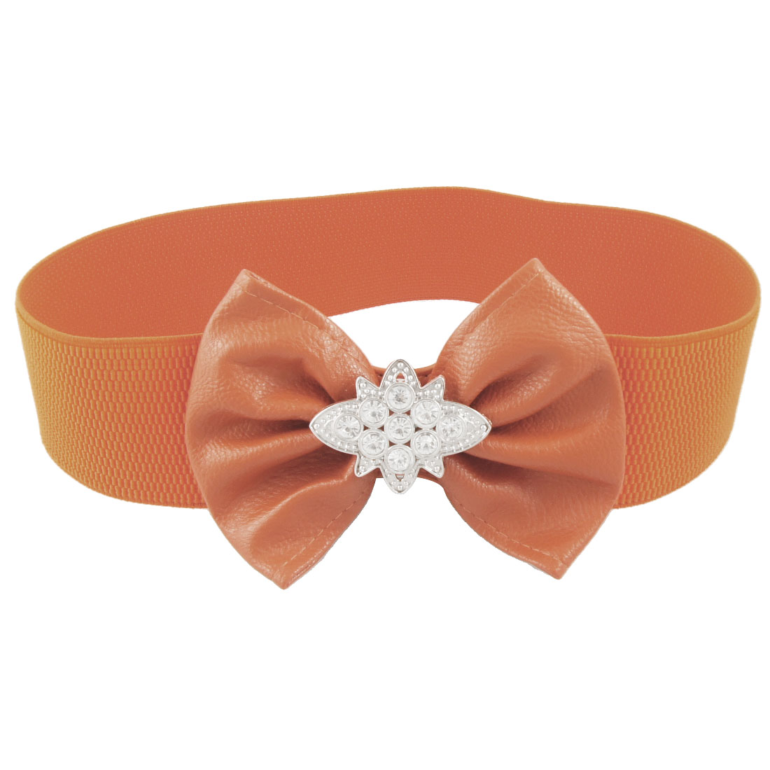 Faux Leather Bowknot Crystal Detail Orange Elastic Cinch Belt for Ladies