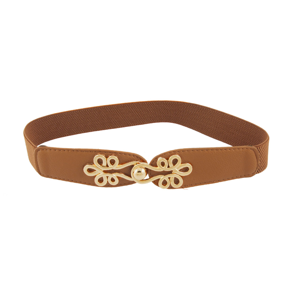 Woman Gold Tone Metal Interlocking Buckle Elastic Cinch Belt Brown