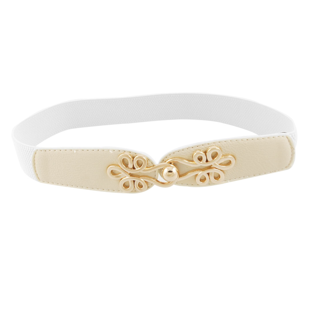 Woman Gold Tone Metal Interlocking Buckle Elastic Cinch Belt Off White