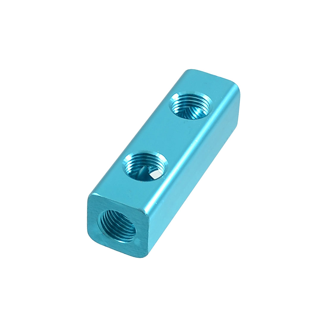 12mm Female Thread Dia 2 In 3 Out Air Inline Manifold Splitter Block Teal Blue