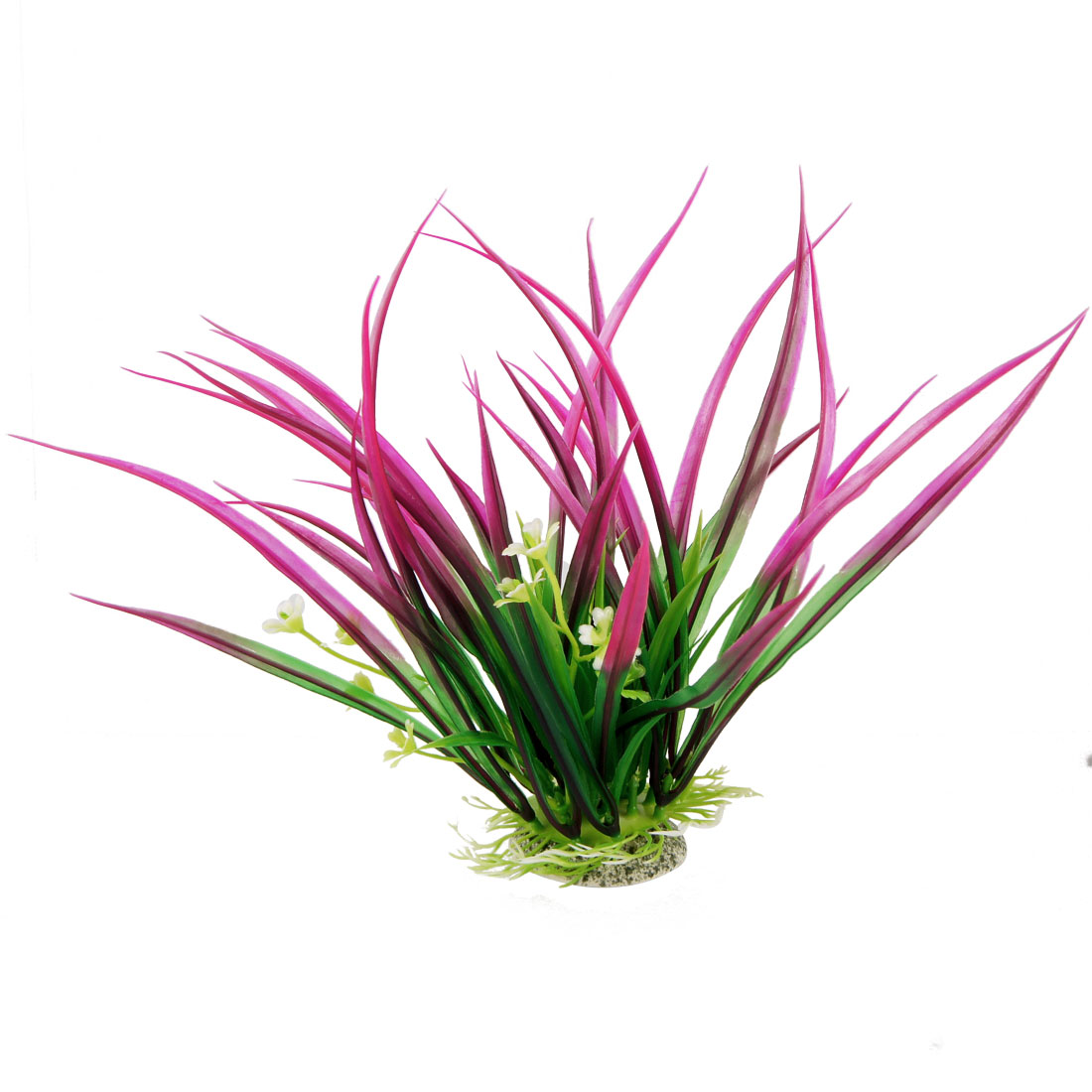 "Flowers Detailing 7.9"" Simulation Green Fuchsia Grasses Adorn for Fish Tank"